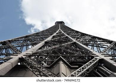 Upper view towars Eiffel Tower peak  - 2016 Paris