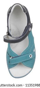 Upper view of turquoise, black, blue and white suede and leather girl sandal with slits and slots and two velcros, isolated on white (FOCUS ON INSOLE)