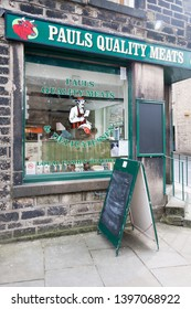 Uppermill, England - August 19th 2011: Paul's Quality Meats butcher's shop. Very few local butchers have survived.