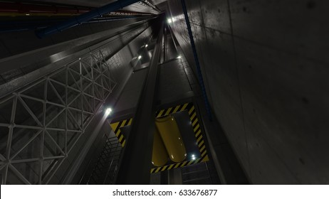 upping elevator lift view inside elevator shaft technology and industrial concept