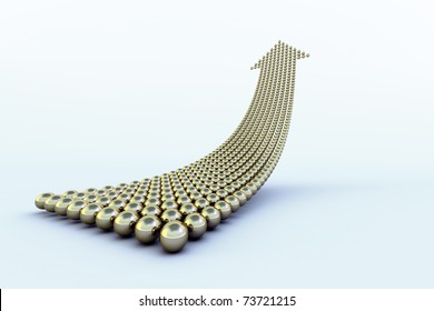 Uppointing arrow formed of hundreds of golden, reflective, balls over a light blue surface with shadows. Conceptual for an upwards trend.