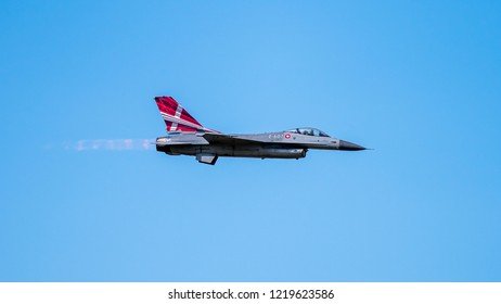 Uppsala, Uppsala län/Sweden - 08/25/2018: The Danish F-16 Fighting Falcon from Lockheed Martin in action at the Swedish Airforces showday at Uppsala Garnison