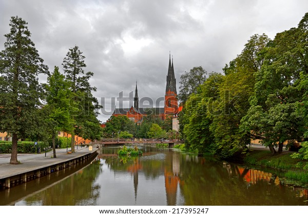 Uppsala Cathedral and its reflection in Fyris river