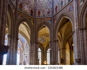 Uppsala, Sweden - Aug. 3, 2018: Interior, Uppsala Cathedral, Uppsala, Sweden.