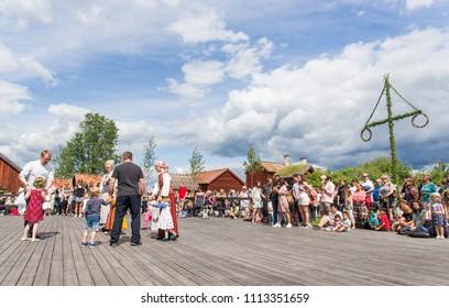 UPPSALA, SWEDEN - JUNE 23 2017 Folk dance during Swedish Midsommar festival