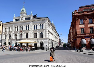 Uppsala Sweden May 17 2019. Square in Uppsala in spring time. People out shopping in the city center of Uppsala. Spring time in Scandinavian town. Beautiful old buildings in Uppsala north of Stockholm