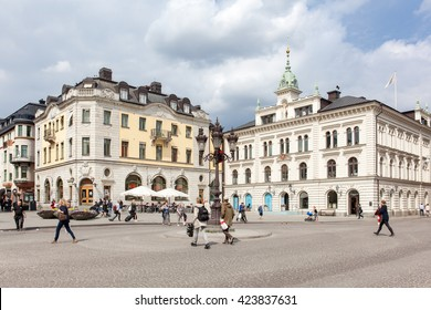 Uppsala, Sweden - May 20, 2016 : Street view of Uppsala center square.