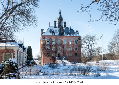 Uppsala, Uppland, Sweden - 02 10 2021: Wik Castle a cold and clear winter day.