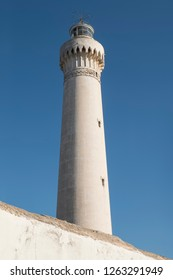 upright picture of lighthouse of Casablanca with clear blue sky in the background