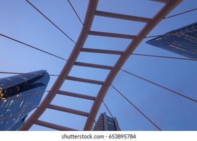Uprisen angle Chong Nonsi skywalk (Sathon - Naradhiwas Intersection) in Bangkok,Thailand