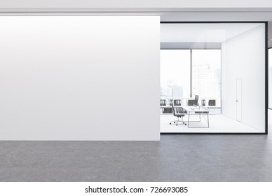 Upscale CEO office with white and glass walls in an office area with a panoramic window. A large blank wall fragment. 3d rendering mock up