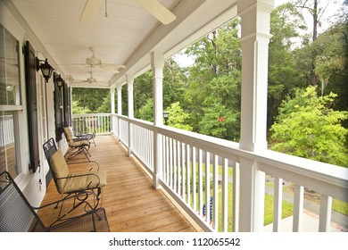 upscale front second story porch