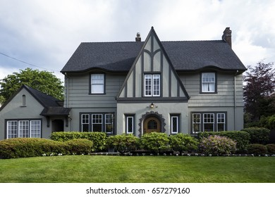 Upscale gray clapboard two-story suburban house