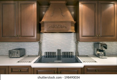 Upscale kitchen with electric cook-top