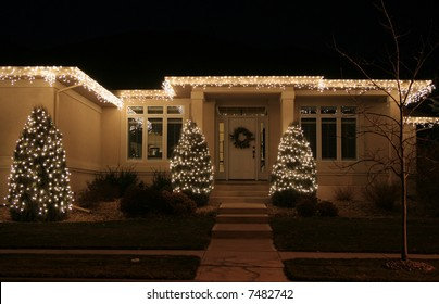 Upscale luxury home with Christmas lights