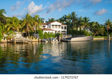 Upscale waterfront houses in Miami, Florida
