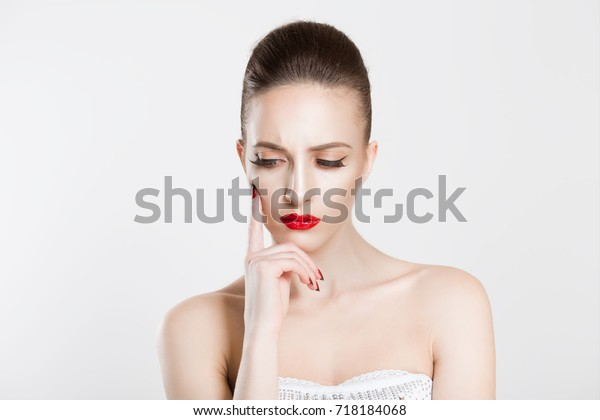 Upset Beauty Queen Portrait Puzzled Woman Stock Photo (Edit