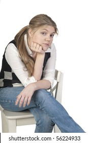 Upset blond woman, isolated on white