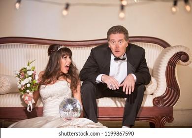 Upset bride yelling at new husband