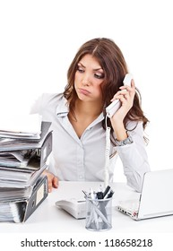Upset business woman in office