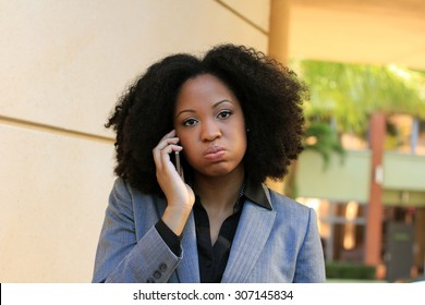 Upset and Frustrated Professional African American Business Woman College Student With Black Hair