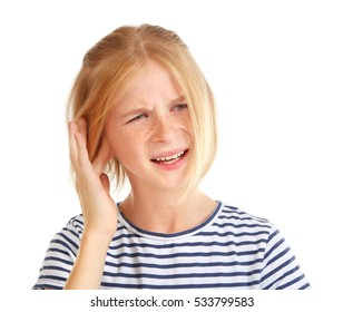Upset girl with ear pain isolated on white