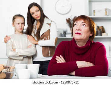 Upset grandmother dont speaking after discord with daughter and granddaughter