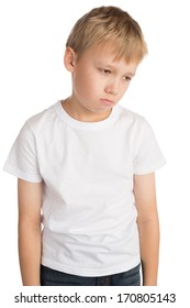 Upset little boy, isolated