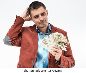 Upset man with money in hand