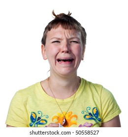 Upset woman shedding tears, crying wildly