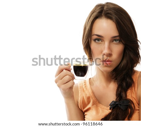 upset young woman with cup of espresso coffee on white background