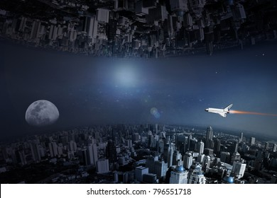 upside down city, abstract background of sci-fi city space theme