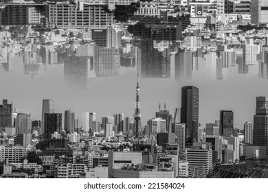 upside down city,Tokyo skyline with Tokyo Sky Tree, the highest free-standing structure in Japan.