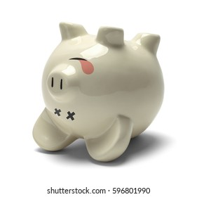 Upside Down Dead Piggy Bank Isolated on White Background.