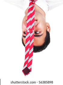 Upside down happy businessman with cravat