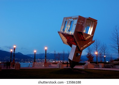 Upside Down House - Device to Root Out Evil in Coal Harbor Park, Downtown Vancouver