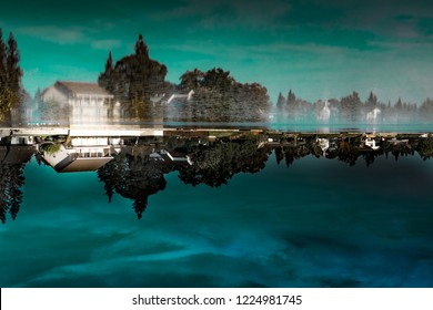 Upside down picture of a house by on Quail Lakes in Stockton California