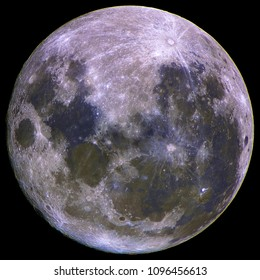 Upside down super Moon isolated in dark background space, with its natural mineral colors, taken by large newtonian telescope.