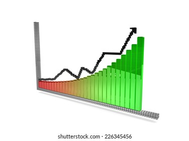upside graph symbol from 3D pixels on the white background.