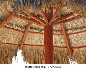 Upside view of palapa on the beach