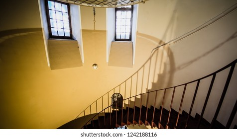 Upside view of a spiral staircase in the Petergof, Petergof 22 January 2017
