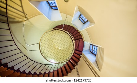 Upside view of a spiral staircase, Petergof 22 January 2017