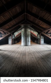 Upstairs attic and ductwork in an abandoned hospital