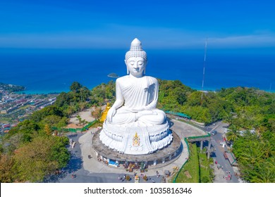 Up-to-date Aerial view Big Buddha of Phuket Thailand Height: 45 m. Reinforced concrete structure adorned with white jade marble Suryakanta from Myanmar(Burma).