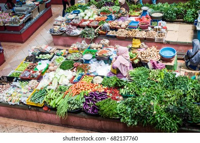 uptown street market at malaysian town 22 july 2017