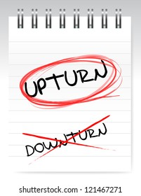 Upturn, crossed out the word downturn illustration design