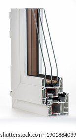UPVC Double glazing cross section, air chamber window, photographed on a white background with a neutral color.