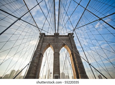Upward image of Brooklyn Bridge in New York