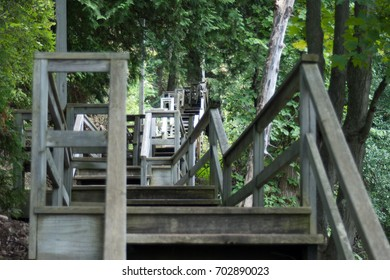 Upward view of a wooden staircase on a path through the woods on Mackinac Island