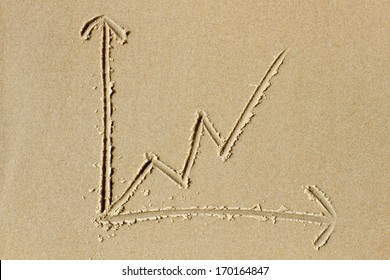 Upwards trending line chart drawn in the wet sand of a sunlit beach. Ideal as illustration of concepts related to growth, success and  professional business services.